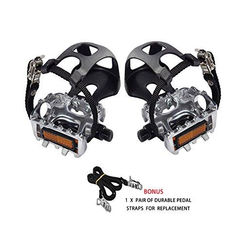 AbraFit 9/16-Inch Premium Quality Bicycle Pedals with Toe Clips and Straps